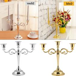 New 3 Arms Alloy Candle Metal Crafts Candelabra Holder Stand