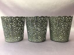 NEW 3 BATH & BODY WORKS SILVER FANS METAL MINI CANDLE HOLDER