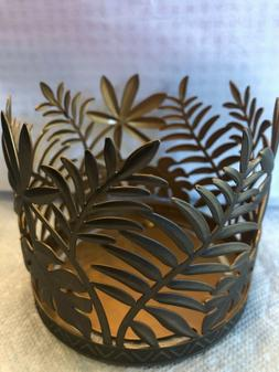 NEW BATH & BODY WORKS BRONZE PALM LEAVES LARGE 3-WICK 14.5 C
