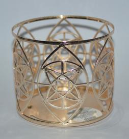 NEW BATH & BODY WORKS GOLD GEO STAR LARGE 3 WICK CANDLE HOLD