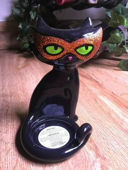 New Bath & Body Works Halloween GLITTERY CAT Ceramic Mini Ca