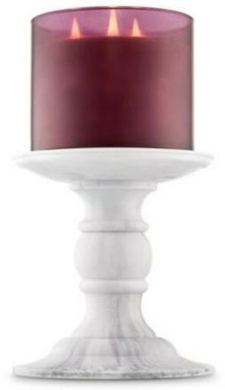NEW BATH & BODY WORKS MARBLE PEDESTAL LARGE 3 WICK CANDLE HO