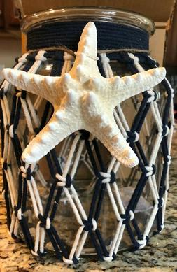 NEW BATH & BODY WORKS NAUTICAL BLUE ROPE Candle Holder Lumin