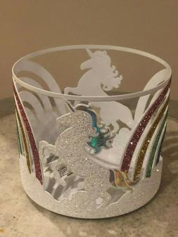 New Bath & Body Works Rainbow Unicorn Glittery Candle Holder