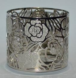 NEW BATH & BODY WORKS SILVER GLITTER ROSE LARGE 3-WICK 14.5