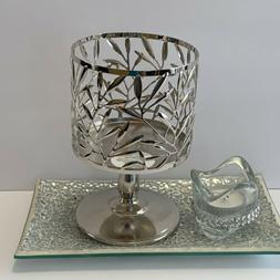 New Bath and Body Works Silver Pedestal Candle Holder Sleeve
