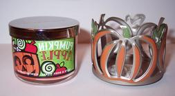 NEW! Bath Body Works Orange Pumpkin Mini Candle Holder & Pum