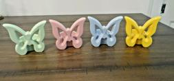 NEW Ceramic Butterfly Decor Tea Light Candle Holder Pink Blu