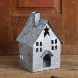 New Farmhouse Primitive Country GALVANIZED METAL HOUSE CANDL