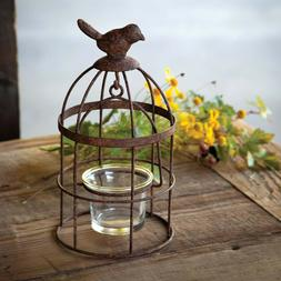 New French Country Rustic Primitive BIRD CAGE CANDLE HOLDER