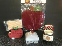 NEW Lot of Apple Kitchen Home Decor ~Stove Candle~Hot Pad~Re