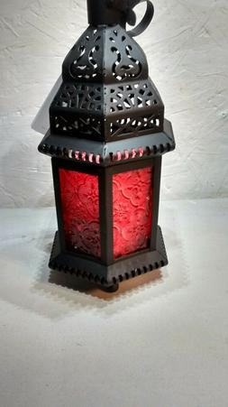 New red Glass Moroccan Lantern Candle Style Holder Metal Han