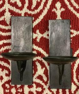 NEW Pottery Barn Set/2 Black Iron Metal Rustic Wall Pillar C