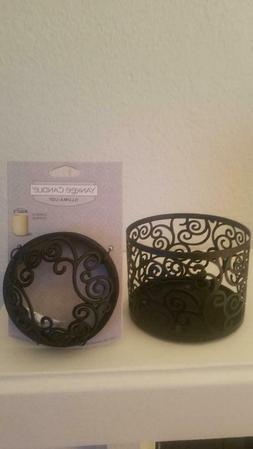 New Set Yankee Candle Black Scroll Jar Candle Holder Sleeve