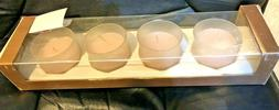 NIB ELEMENTS Set Of 4 Ivory Votive Candles In Frosted Glass