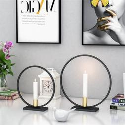 Nordic Round Simple Style Black Candlestick Tea Light <font>
