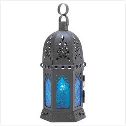 Gifts & Decor Ocean Blue Iron Glass Candle Holder Hanging La