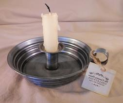 Ol' Tin Chamber Stick Vintage Style Taper Bedside Candle Hol