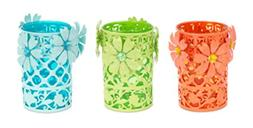 Pack of 6 Orange, Lime Green, and Baby Blue Metal and Glass