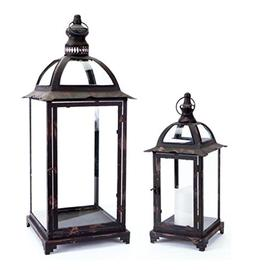 Set of 2 Pagoda Crest Weathered Iron and Glass Pillar Candle