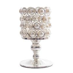 DECOSTAR™ PEARL AND CHROME CANDLE HOLDER ON PEDESTAL - 7.5