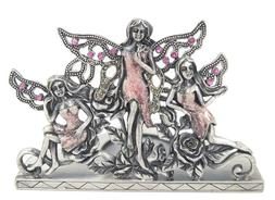 Welforth Pewter Pink Fairies and Garden Tea Light Candle Hol