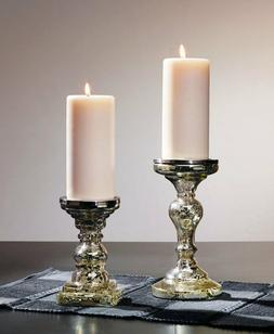 Pillar Candle Holder Silver Mercury Glass Wedding Table Cent