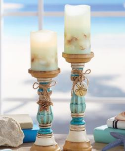 Pillar Candle Holder or LED Candles Flameless Coastal Cerami