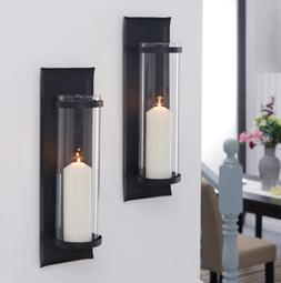Pillar Candle Holder Sconce Set Wall Mount Black Metal Glass