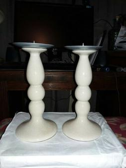 Pillar ceramic and metal candle holders set of 2