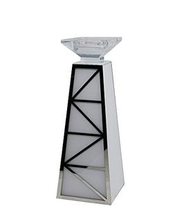 Benzara Pillar Shaped Decorative Glass Candle Holder, White