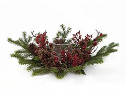 Pine Cone & Christmas Holiday Berry Candle Holder Decoration