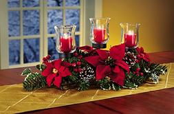 Christmas Poinsettia Candle Holder Centerpiece With Pinecone