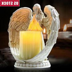 Praying Angel Figurine Flameless Candle Holder Angel Wing Ch