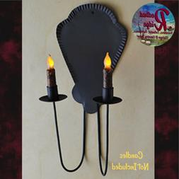 Primitive Colonial Jamestown Candle Holder Sconce, Holds 2 C
