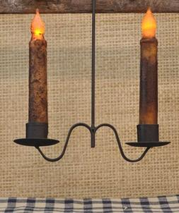 Primitive Country Farmhouse Iron Hanging Double Taper Candle