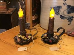 Primitive Country Tin Taper Chamberstick Candle & Potpourri