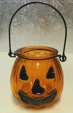 PUMPKIN JAR..GREAT FOR VOTIVE CANDLES OR USE FOR CANDY...LOT