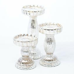 Richland Rayner Mercury Pillar Candle Holder Glass Stand Wed