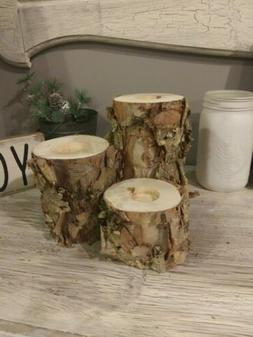 real birch bark log tea light candle