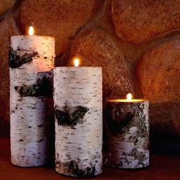 REAL BIRCH BARK LOG TEALIGHT CANDLE HOLDER SET OF THREE RUST