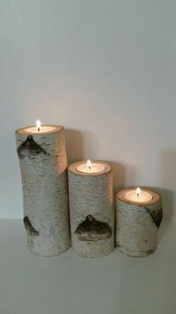 Real Birch log tea light candle holder set of 3. Rustic log