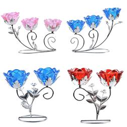 Red Blue Flower Glass Tealight Candle Holder Candlestick Wed