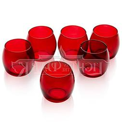 Red Glass Hurricane Votive Candle Holders Set of 72