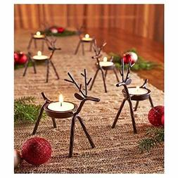 Reindeer Tealight Candle Holders Metal - Set of 6 - Best for
