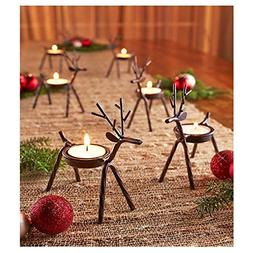 Reindeer Tealight Candle Holders Metal - Set of 6 - Best for