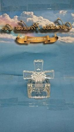 Religious Glass Cross Candle Holder w/ Color LED Candle