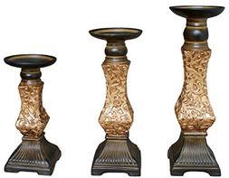 "TIAAN's Set of 3 Resin Pillar Candle Holders - 12"", 10"",8"""