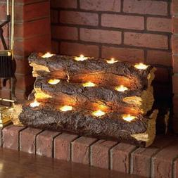 Resin Tealight Fireplace Log Candle Holder Holds 11-Tea Ligh