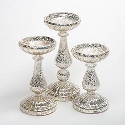 Richland Ribbed Unique Mercury Glass Pillar Candle Holder Se